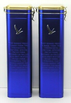 """Set of 2 Grey Goose Vodka Collectible Blue Tins w Hinged Lid - Empty 14.75"""" x 4"""""""