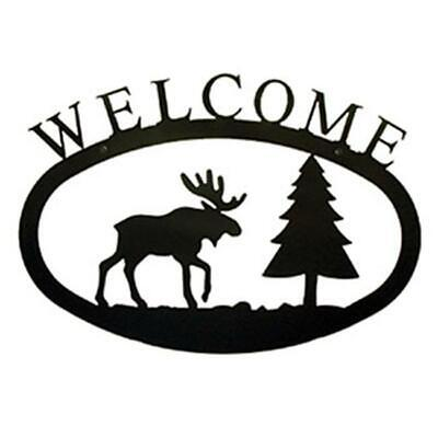 Village Wrought Iron WEL-22-L Large Moose and Pine Welcome