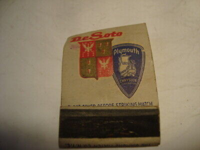 Vintage DeSoto Plymouth Matchbook Cover