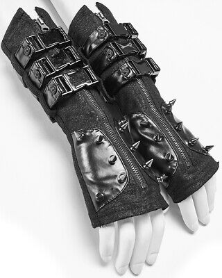 Punk Rave Womens Dieselpunk Spiked Gloves Gauntlets Black Faux Leather Gothic