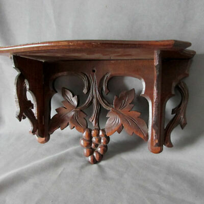 Antique c1890s Hand Carved Shelf with Grapes and Leaves, Black Forest