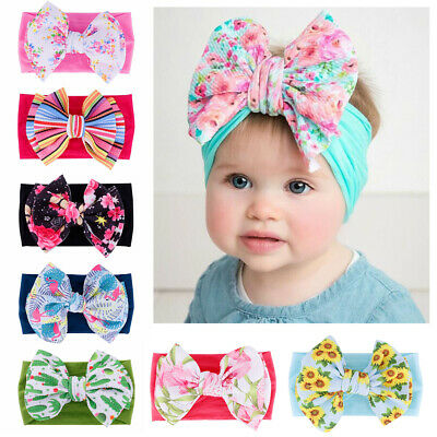 Headwear Kids Girls Newborn Headwraps Big Bow Baby Nylon Headband Knot Turban