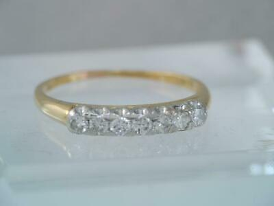 GORGEOUS VINTAGE SOLID 18K GOLD & PLATINUM 7 DIAMOND BAND RING sz 7