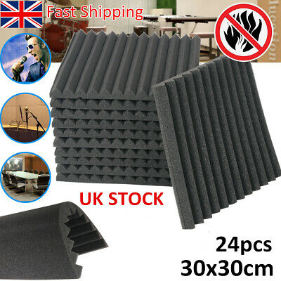 NEW 24pcs Acoustic Wall Panel Wedge Soundproof Absorption Foam StudioTreatment