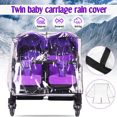 Transparent Universal Twin Stroller Rain Cover Double 360 Pushchair Windshield