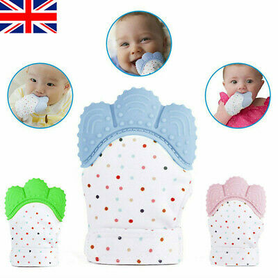 Baby Teething Mitten Silicone Glove Candy Wrapper Soft Teether UK Stocks Fast