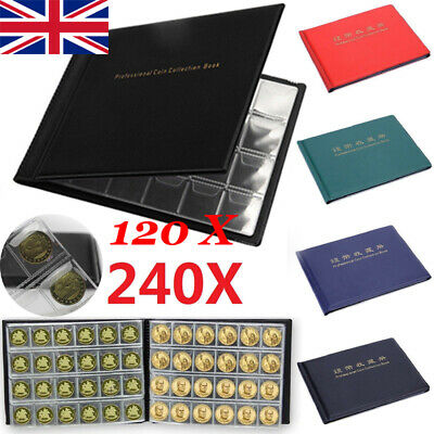 240 120 Coin Collection Album Money Storage Case Holder Coin Collecting Book UK