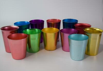 RETRO Bulk Lot -  Mismatched Set of 12 Anodised Cups Harlequin Vintage Anodized