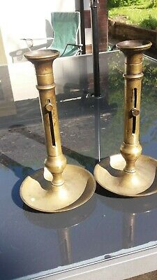 Large Pair of Brass Ejector Candlesticks