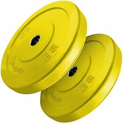 """2x 15kg (Pair) BodyRip Competition IWF Bumper Weight Plates 2"""" Olympic"""