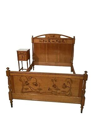 Lovely Antique French Art Nouveau Bed & Nightstand, 1930's, Walnut