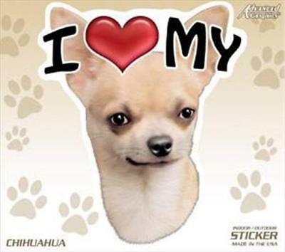 """48 each I Love My Chihuahua Dog 4"""" Car Home Sticker Decal Pet Gift"""