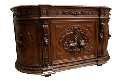 French Hunt Server, Sideboard or Buffet, Oak,  19th Century, Carved Fowl