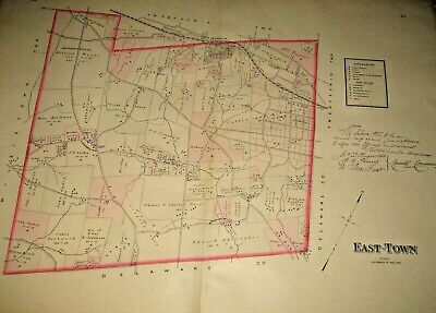 East-Town Township Chester County Pa 1883 Large Color Map Devon Paoli Berwyn