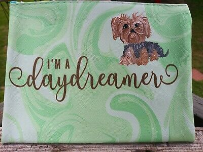 Hand Painted yorkshire terrier yorkie painting summer cosmetic pouch