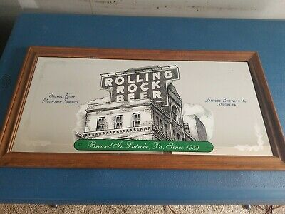 (VTG) Rolling Rock Beer Extra Pale Latrobe Brewery mirror man cave game room pa