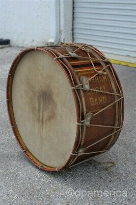 "Antique Late 19th century 29"" Marching Band Bass Drum Topsham Maine Local Band"