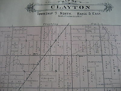 Antique 1889 Genesee County MI Michigan Clayton/Gaines Township Plat Map
