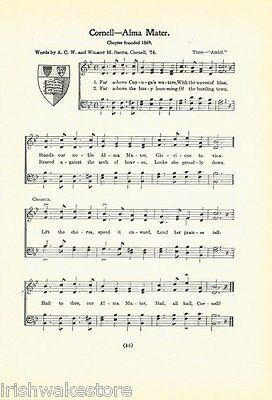 "SYRACUSE UNIVERSITY Vintage Song Sheet w//School Seal 1937 /""Alma Mater/""  Original"