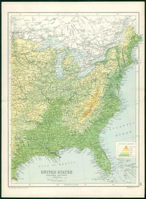 1912 Original Colour Antique Map - UNITED STATES EASTERN DIVISION (73)