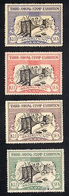 1934 3rd Annual Stamp Exhibition set of 4 different colors gummed labels MH