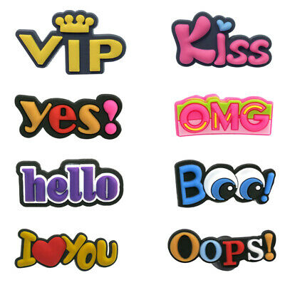 50pcs hot words PVC Shoe Charms Buckles Decoration Action Figure Jibitz for Croc