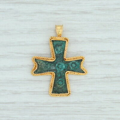 Byzantine Ancient Roman Cross Pendant 21k Gold & Patinaed Bronze Antique