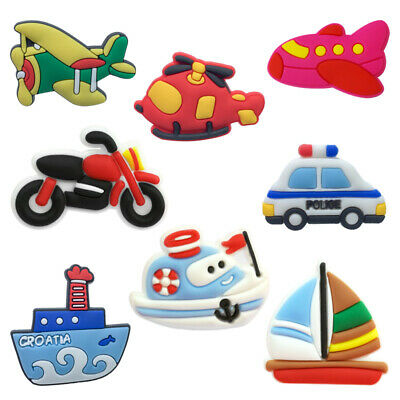 50pcs Motor Plane Car Boat PVC Shoe Charms Buckles Decoration Jibitz for Croc