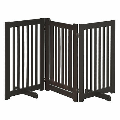 Pawhut MDF Dog Gate Step over Panel Fence Expandable Folding w/ Latch - Brown
