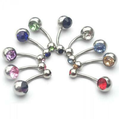Navel Bar Crystal Surgical Steel Belly Button Ring Body Piercing Double Gemmed