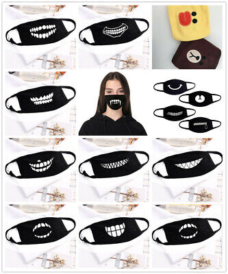UK Cotton Anti-Dust Mouth Face Mask Cover Respirator Cycling Anime Black
