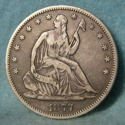 1877-S Seated Liberty Silver Half Dollar Better Grade Details * US Coin