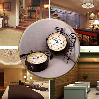 Retro Household Double Sided Wall Mounted Bracket Clock Home Living Room Decor