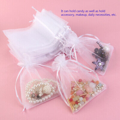 UK 100pcs Luxury Organza Wedding Favour Gift Candy Bags Jewelry Pouch Colours