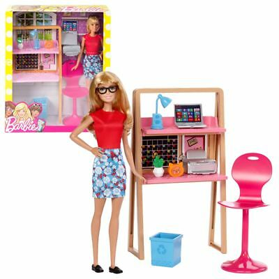 Office Furniture with Accessories & Doll | Barbie | Mattel DVX52 | Furnishings