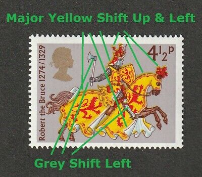 GB QEII ~ 1974 SG 958 ~ ERROR Major Yellow Shift Up & Left ~ MNH