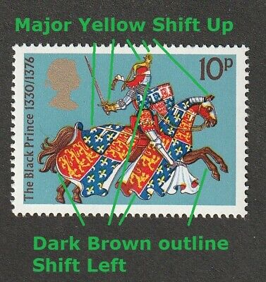 GB QEII ~ 1974 SG 961 ~ ERROR Major Yellow Shift Up & Brown Shift Left ~ MNH