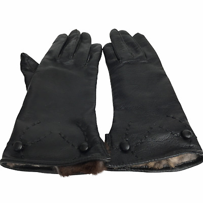 Women's Size A Gloves Black Fur Lined with Button and Stitched Details
