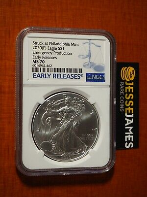 2020 (P) Silver Eagle Ngc Ms70 Er Emergency Issue Struck At Philadelphia Mint