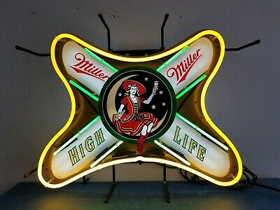 (VTG) miller high life beer girl on the moon neon light up sign bar game room