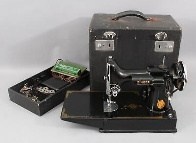 Antique 1941 Singer 221 Scroll Featherweight Sewing Machine w/ Accessories