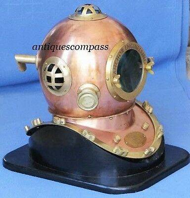 Karl Heinke GERMANY Anchor Engineering Divers Diving Helmet With Wooden Stand