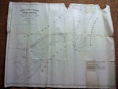 1863 Civil War Era Nautical Map NEW YORK HARBOR East River Governor's Island
