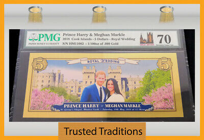 Tt 2018 Cook Islands $5 Real Gold Prince Harry Royal Wedding Pmg 70 Perfect!