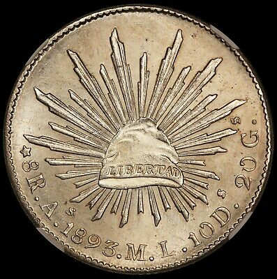 1893 As ML Mexico 8 Reales Silver Coin - NGC MS 63 - KM# 377