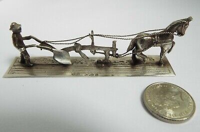 Lovely Novelty Miniature English Antique 1928 Cast Solid Silver Ploughing Scene