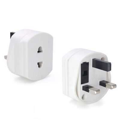 3-pin USA to UK Plug Adapter Converts USA Plug to 2 Prong Grounded UK Wall Plug