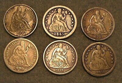 6 Piece Seated Liberty Silver Dime United States Type Coin Lot 1845-1890