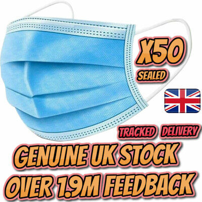50/100 Disposable Surgical Face Mask Mouth Nose Guard Respiration Masks Gloves