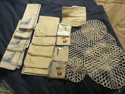Vintage Linens Lot Crocheted Doilies Embroidered Napkins Handkerchief